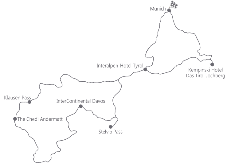 מפה של מסע פורשה חוצה אירופה