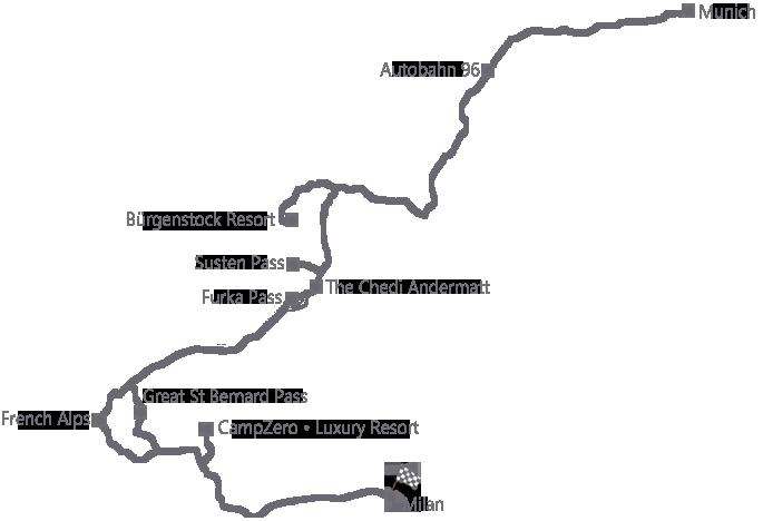 מפה של מסע פורשה גרנד טור 2021